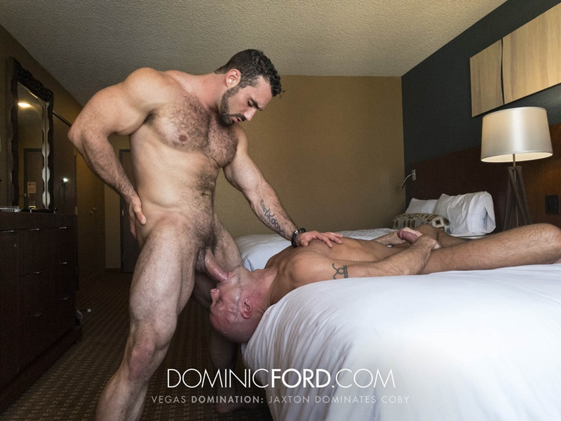 Masculine muscular hairy hung and aggressive Jaxton Wheeler dominates Coby Mitchell's asshole