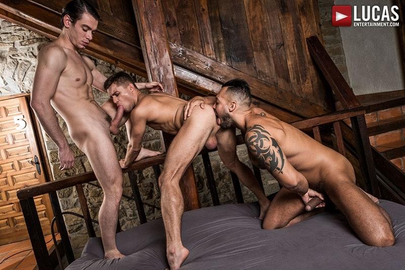 Viktor Rom spit roasts bareback fucking both naked muscle men Klim Gromov Jon Bae