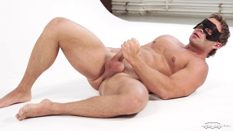 Hot big muscle guy Peter Stallion jerks his huge uncut cock to a massive cumshot