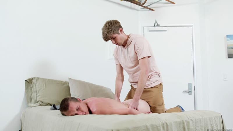 Men for Men Blog Miles-Matthews-Elye-Black-bareback-ass-fucks-cum-load-raw-big-dick-NextDoorBuddies-005-gay-porn-pictures-gallery Miles Matthews bareback fucks the cum out of Elye Black pulling out and blasting his load all over his chest Next Door Buddies