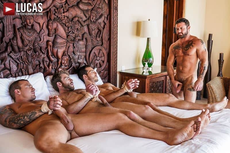 Hairy muscle hunk Sergeant Miles's huge raw dick dominates Isaac X, Ricky Hard and Gabriel Phoenix's holes