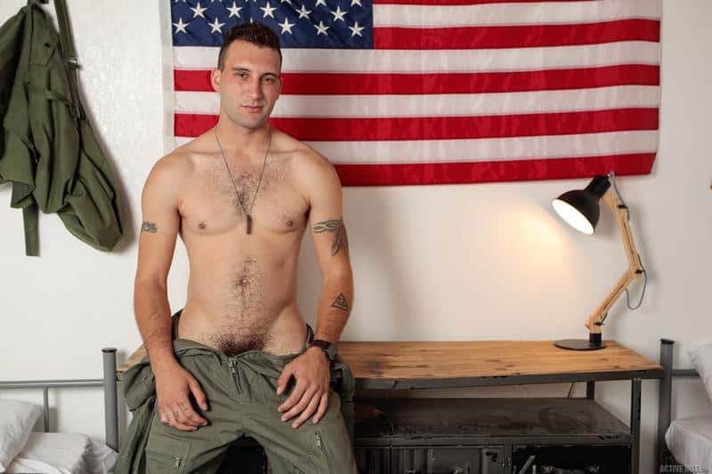 Hot army recruit Trent Marx's hot hole bare fucked by hairy chested hunk Jesse Prather's huge raw dick