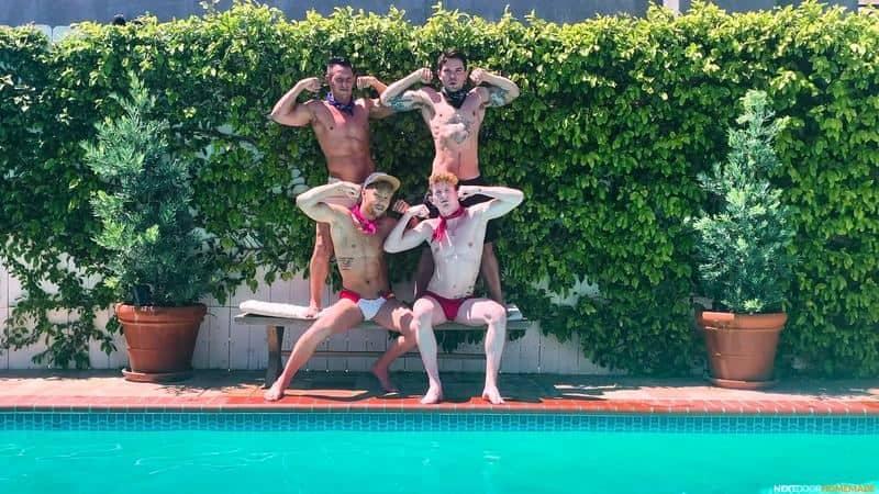 Poolside fuck fest Dakota Payne and Jax Thirio's huge dicks bareback fucking sexy boys Max Lorde and Devyn Pauly