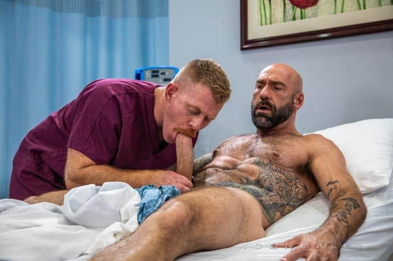 Big hairy muscle stud Drew Sebastian's hot ass bare fucked by Dr Jack Vidra's massive pierced dick