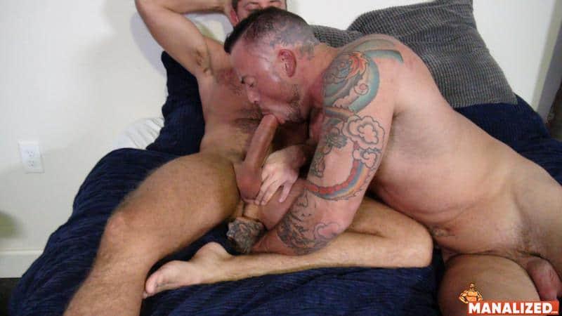 Big tattooed muscle hunk Sean Duran's huge raw dick barebacking hot stud Jack Andy's tight bubble butt