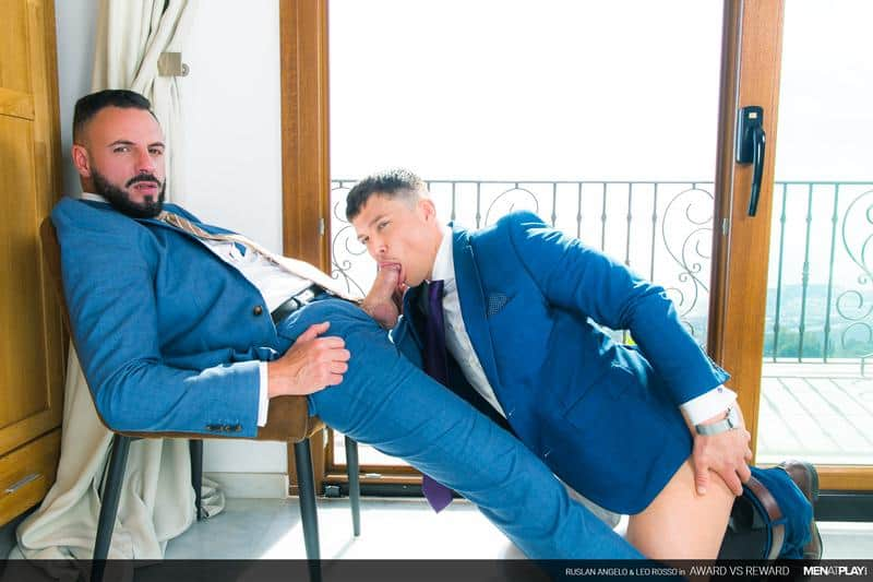 Designer suit sex bearded muscle dude Leo Rosso's huge raw dick bareback fucking hottie young hunk Ruslan Angelo's tight ass
