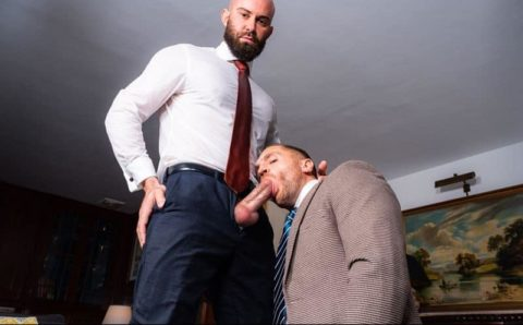 Hot bald muscle stud Bruno Max's huge raw dick bare fucks suited bearded hottie Emir Boscatto's hot hole