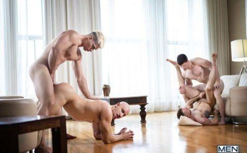 Hot dinner part foursome Malik Delgaty, Jeremy London, Finn Harding and Travis Connor hot anal fuck fest