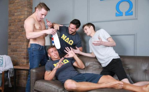 Hot frat boy Justin Matthews's tight asshole bare fucked by young stud Shane Cook's big dick