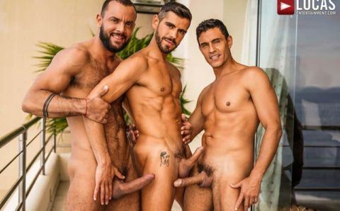 Hot hairy muscle dudes Sir Peter and Rafael Carreras's huge dicks double fuck Valentin Amour's hot bubble ass