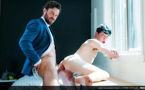 Hot muscle stud James Fox's massive raw dick barebacking young buck Edward Terrant's hot hole