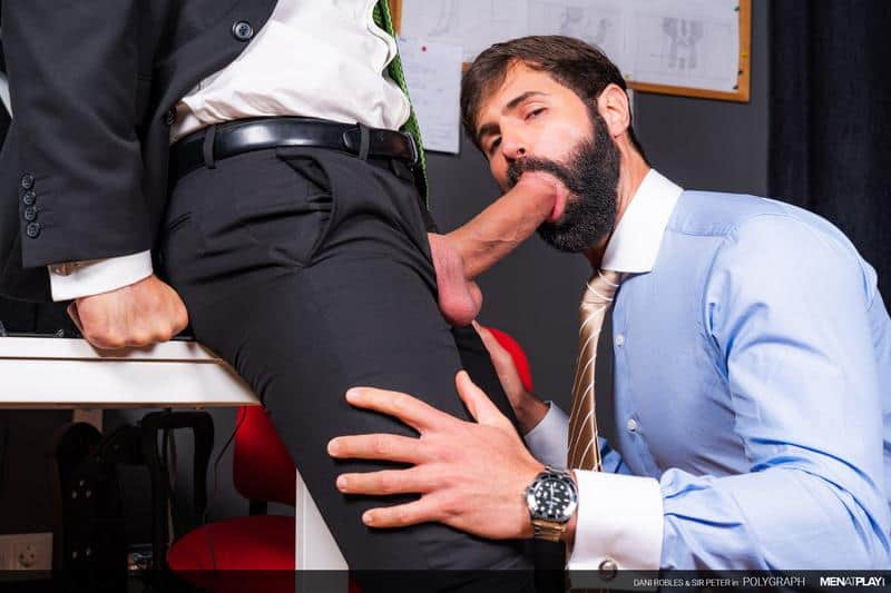 Hottie bearded muscle hunk Dani Robles's hot bubble butt raw fucked by hairy muscleman Sir Peter at Men at Play