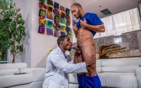 Hottie ebony muscle studs DeAngelo Jackson and Dillon Diaz hardcore big black dick fucking