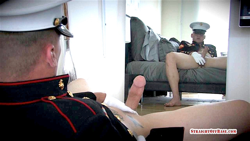 Massive tattooed sexy Navy Corporal Straight Off Base Quinn wanks his huge cock till he explodes in cum