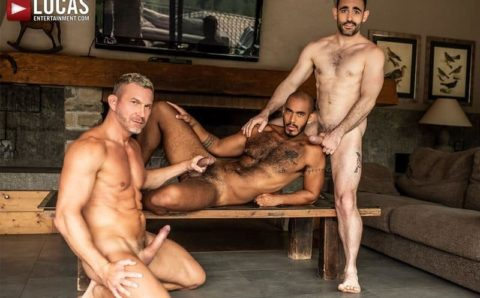 Max Arion and Tomas Brand's huge raw dicks bareback fucking black stud Louis Ricaute's hot bubble butt