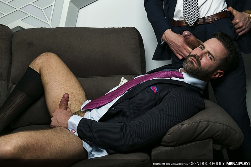 Suited gents fucking Dani Robles' hot muscled asshole pummeled hard by Alexander Muller's huge cock
