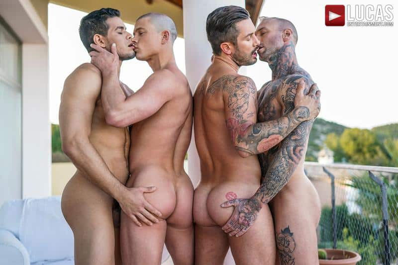 Horny muscle foursome Dylan James, Rico Marlon, Ruslan Angelo and Andrea Suarez hardcore anal fuckfest