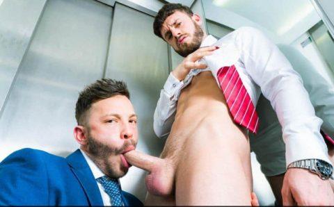 Hot suited Brazilian muscle stud John Brachalli's huge cock bareback fucks sexy hunk Manuel Reyes's ass hole