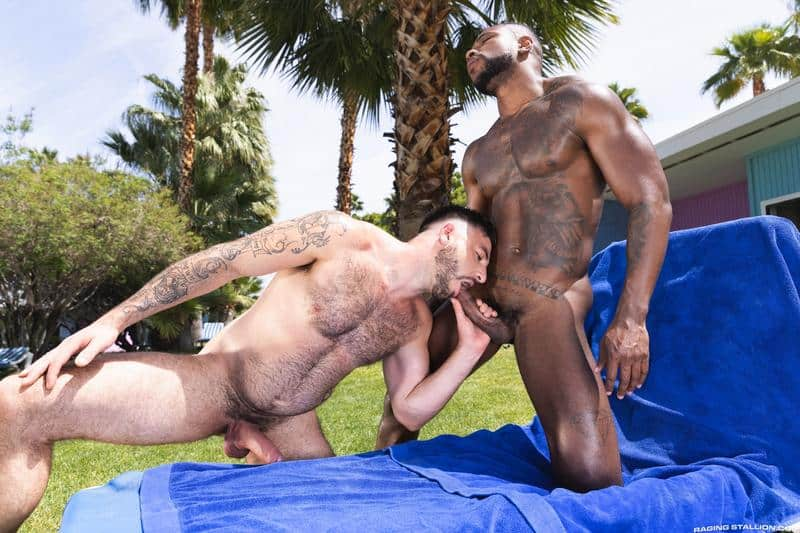 Interracial sexy black muscle stud Reign's bareback fucks hairy hunk Ian Holms