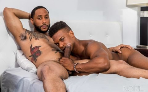 Sexy black dudes Jaxx Maxim and Adrian Hart end up sucking dick eating ass and fucking their brains out
