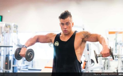 Big muscle hunk Phillipe Massa flexes in the gym before stroking his huge thick dick to a huge cumload