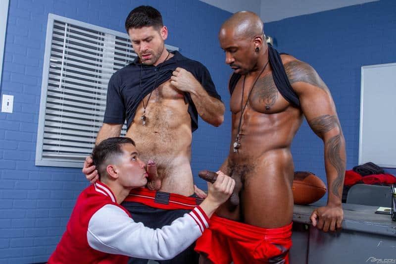 Falcon Studios hot gay threesome Colton Reece and Max Konnor double fuck Beau Butler's tight asshole