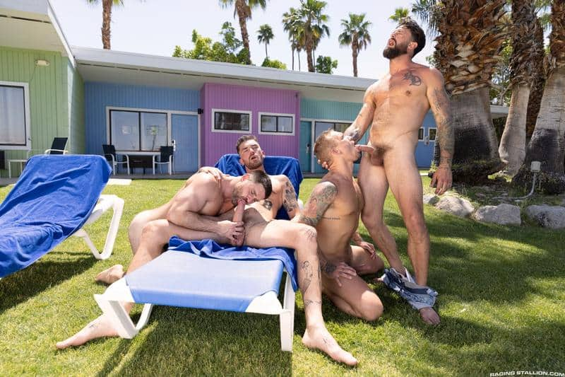 Gay hardcore outdoors foursome Chris Damned, Isaac X, Beau Butler and Alpha Wolfe bareback anal fucking