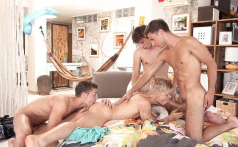 Hot gay foursome Dylan Maguire, Peter Annaud, Kieran Benning and Sven Basquiat bareback ass fucking