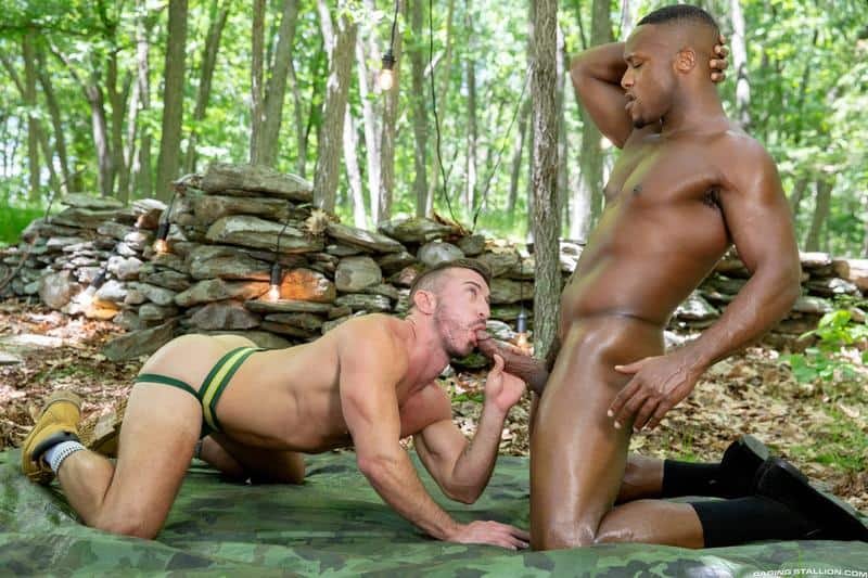 Hairy chested hunk Grant Ryan's bare asshole raw fucked by black stud Andre Donovan's huge dick