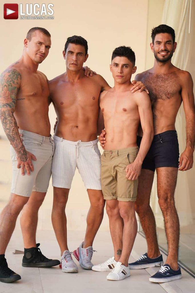 Hardcore gay foursome Isaac X, Nico Zetta, Joaquin Santana and Rafael Carreras bareback ass fucking