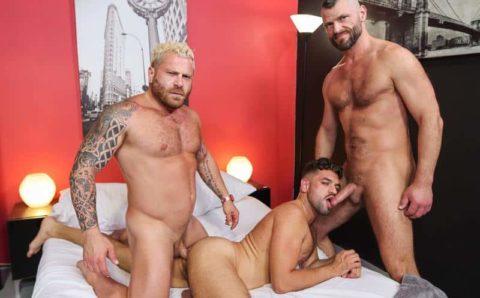 Hardcore gay threesome Jake Morgan, Riley Mitchel and Justin Eros big older dick ass fucking orgy