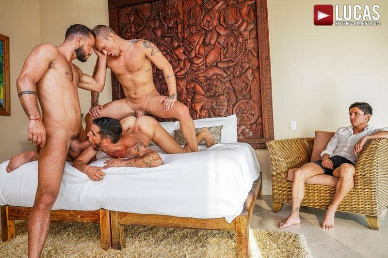 Gay sex orgy Sir Peter and Isaac X double fuck Valentin Amour watched by cuckold Joaquin Santana
